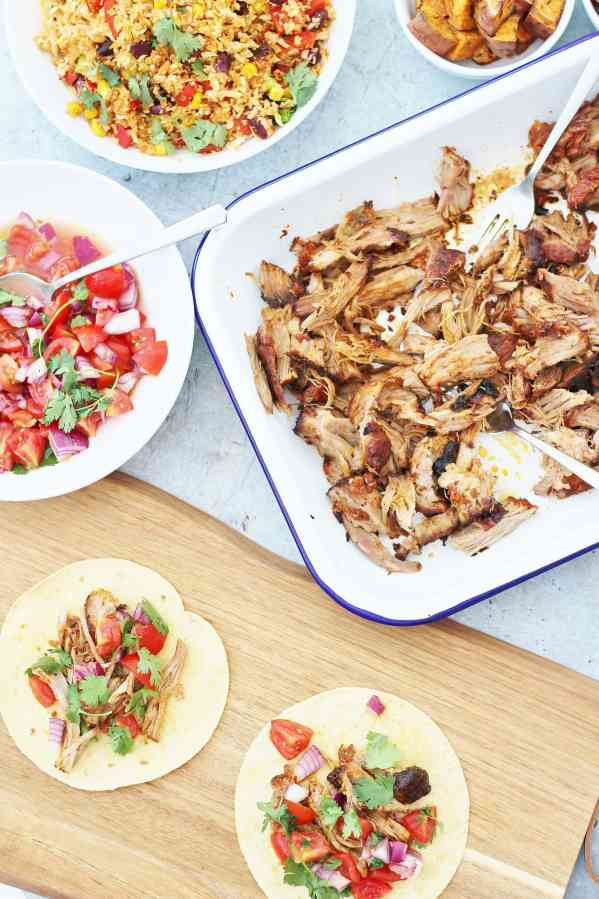 Mexican Pulled Pork Tacos with Easy Peasy Salsa Fresca (Pico de Gallo)