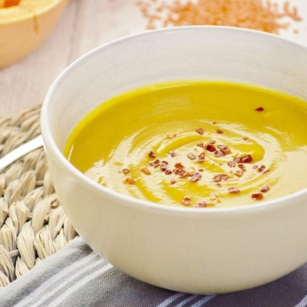 Spicy Butternut and Lentil Soup