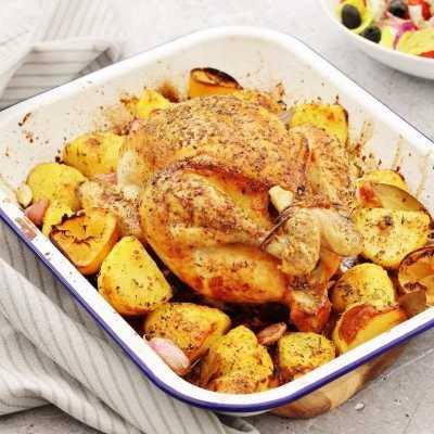 One Pan Greek Roast Chicken and Roast Potatoes