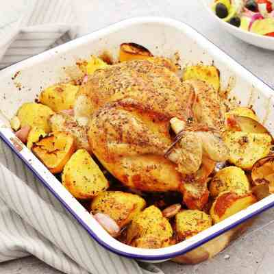 One Pan Greek Roast Chicken and Roast Potatoes