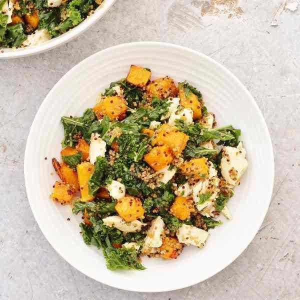 Leftover Chicken Kale and Pumpkin Salad