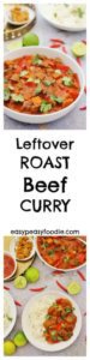 Got some leftover roast beef and wondering what to do with it? How about this delicious Leftover Roast Beef Curry? It's quick, easy and super tasty. No leftover roast beef? No problem! Read on for how to make this easy beef curry with steak instead…#beef #roastbeef #curry #leftovers #leftoverbeef #loveyourleftovers #easydinners #midweekmeals