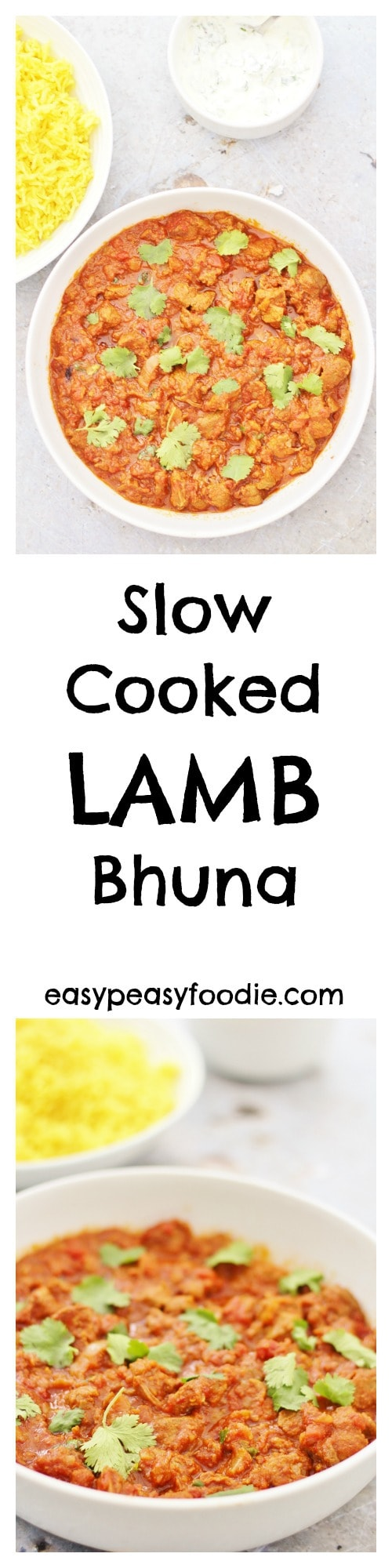 Easy, warming and delicious, this Slow Cooked Lamb Bhuna is perfect for chilly autumn and winter days. Only 10 mins prep and then let your oven or slow cooker take the strain until you are ready to eat. Make double and freeze the rest and you'll have an even easier meal for a busy day in the future! #lamb #curry #bhuna #slowcooker #crockpot #slowcooking #makeahead #freezermeals