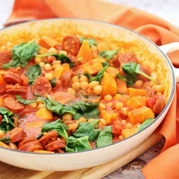 One Pot Chorizo, Chickpea and Sweet Potato Stew