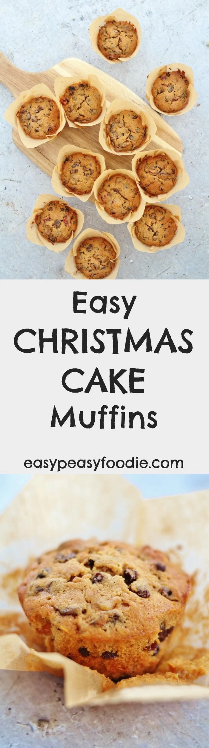 Fancy making homemade Christmas cake but don't have the time? Make my Easy Christmas Cake Muffins instead! These cute mini Christmas cakes have all the flavours of a traditional Christmas cake but take just 45 minutes from start to finish. As a bonus they are gluten free, nut free, alcohol free and can easily be made dairy free too. #christmascake #christmascakemuffins #christmasmuffins #glutenfreechristmascake #nutfreechristmascake #alcoholfreechristmascake #christmasrecipes #easypeasyfoodie