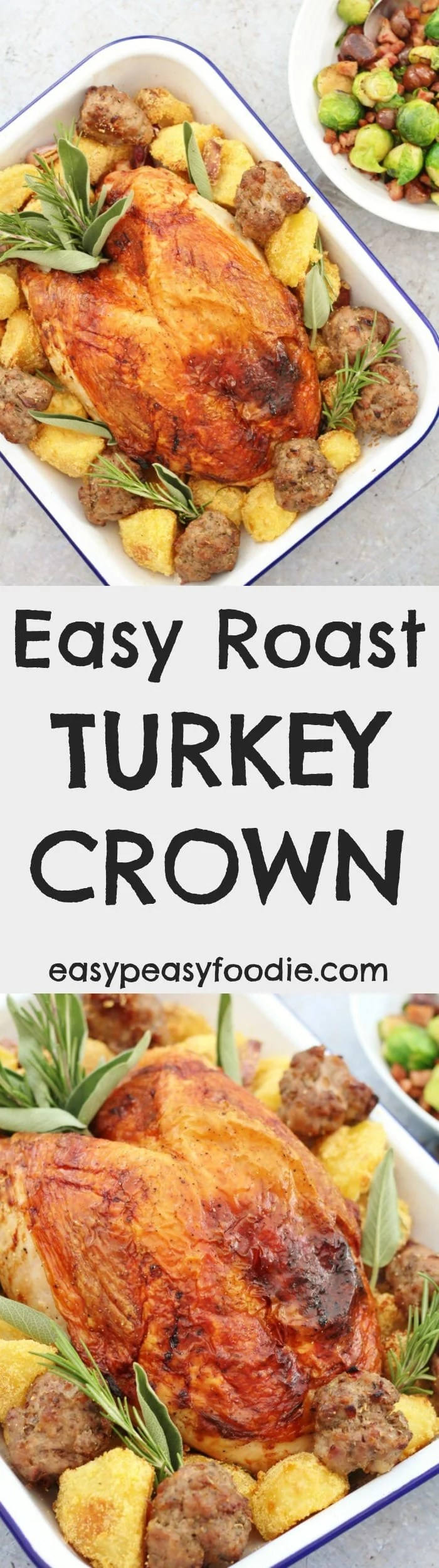 Make your life simple this Christmas and cook my Easy Roast Turkey Crown – all the delicious taste of a whole roast turkey, but less of the stress. Plus lots of tips on buying, defrosting and cooking a turkey crown and delicious ideas for your turkey leftovers! #turkey #turkeycrown #crown #turkeytips #roastturkey #roastturkeycrown #christmasdinner #christmaslunch #easychristmas #easypeasyfoodie #freefromgang #cookblogshare