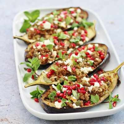 LambStuffed Aubergines with Mint, Feta and Pomegranate Seeds
