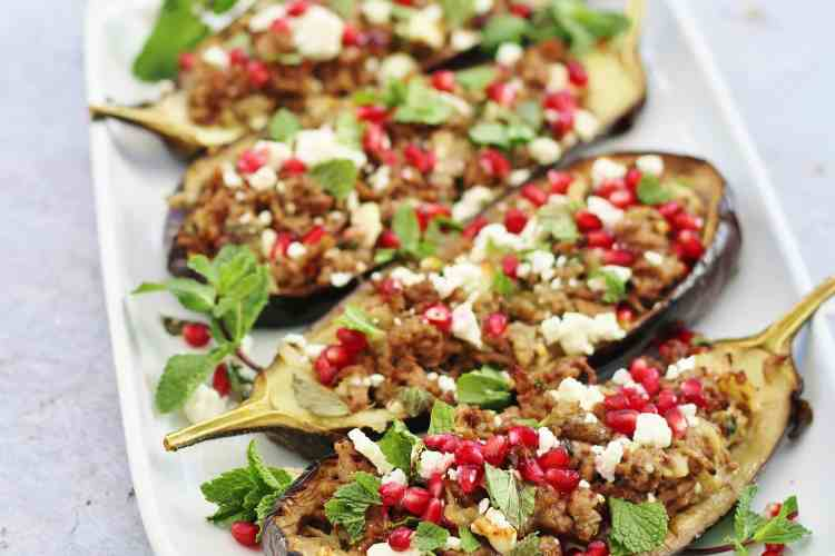 Lamb Stuffed Aubergines with Mint, Feta and Pomegranate Seeds