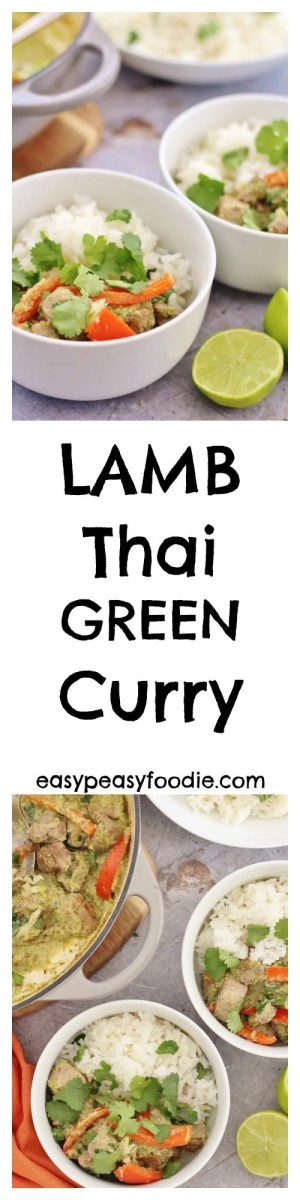 Thai green curry is fab, but have you ever tried it with lamb? My Lamb Thai Green Curry is full of the delicious, aromatic flavours of lemongrass, coriander, cumin, garlic and chilli, and can made from scratch in under 30 minutes! It's also dairy and gluten free and can be adapted to make it mild enough to serve to young children – or you can make it as hot as you like! #lamb #thai #green #curry #lambcurry #thaigreencurry #onepot #under30minutes #easydinners #easypeasyfoodie
