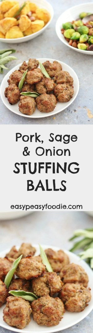 Need a delicious stuffing recipe that is free from gluten, dairy, egg AND nuts? Then you have to try my easy peasy Pork, Sage and Onion Stuffing Balls! They are perfect to serve with roast turkey or roast chicken. Alternatively this Pork, Sage and Onion stuffing mix can be stuffed in the neck cavity of your bird, or cooked in a separate dish. Instructions for all 3 ways are given in the recipe. #stuffing #stuffingballs #glutenfree #dairyfree #eggfree #nutfree #pork #roast #roastdinner #christmas #christmasfood #freefromchristmas