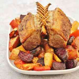 Spiced Rack of Lamb with Honey Roasted Root Vegetables