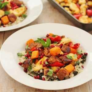 Warm Lamb Rice Salad with Halloumi and Harissa