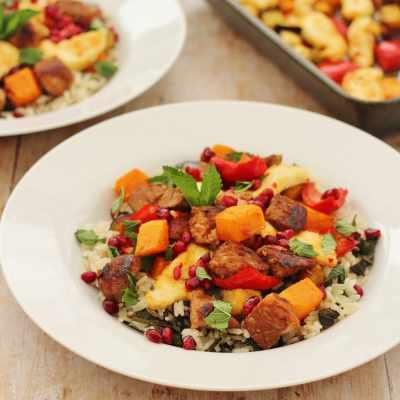 Warm Lamb Rice Salad with Halloumi and Harissa