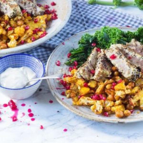 Cumin Crumbed Tuna with Paprika Cauliflower and Crispy Kale