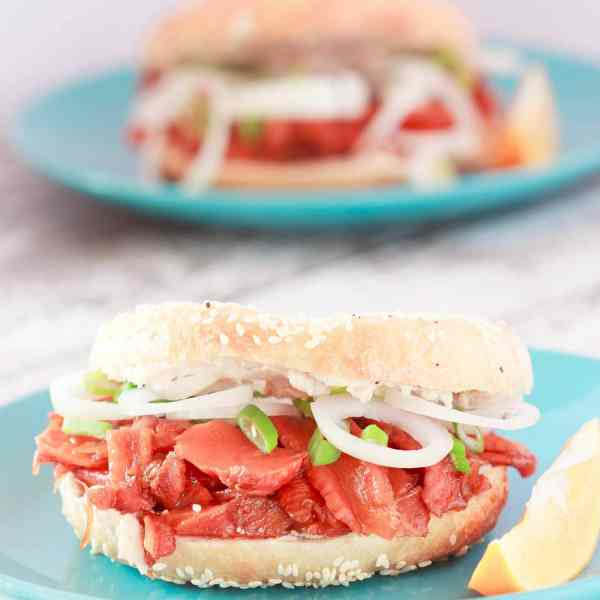 Vegan Bagels and Lox with Cream Cheese