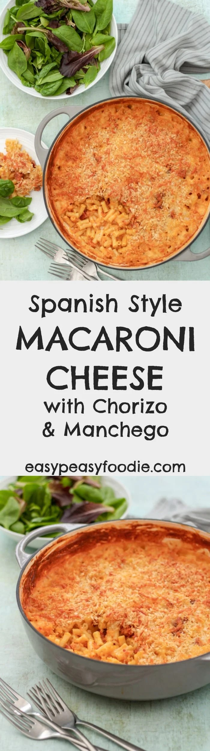 Hearty comfort food at its best, this Spanish style Macaroni Cheese with Chorizo and Manchego takes the humble mac and cheese to the next level!  #spanish #spanishfood #macaronicheese #macandcheese #chorizo #manchego #pasta #easydinners #midweekmeals #easypeasyfoodie