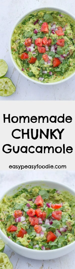 Quick, easy and utterly delicious, this Homemade Chunky Guacamole recipe is set to knock your socks off!! Perfect for pairing with all your Mexican favourites, it's a real crowd-pleaser and can be made in well under 10 minutes. It's also vegetarian, vegan, dairy free and gluten free. #guacamole #mexican #avocado #dip #vegan #vegetarian #dairyfree #glutenfree #easyrecipe #easypeasyfoodie