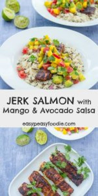 Delicious, spice-blackened fish pairs beautifully with a refreshing, tropical salsa, this Jerk Salmon with Mango and Avocado Salsa super quick, easy to make and pretty healthy, but tastes out of this world. #jerk #salmon #jerksalmon #mango #avocado #mangosalsa #salsa #fish #under30minutes #midweekmeals #easydinners #familydinners #easypeasyfoodie