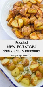 Quick, easy and delicious, these Roasted New Potatoes with Garlic and Rosemary make a fab alternative to traditional roast potatoes. #roastpotatoes #newpotatoes #roastnewpotatoes #roastednewpotatoes #garlic #rosemary #side #sidedish #bbqside #easymeals #familydinners #roastdinner #easypeasyfoodie