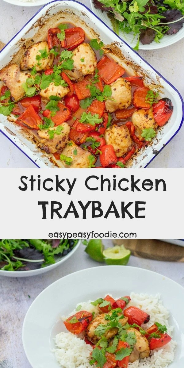 This quick and easy Sticky Chicken Traybake is inspired by a Mary Berry Recipe: chicken thighs are coated in a delicious mixture of soy sauce, honey, ginger, chilli and sesame oil and roasted in the oven. Delicious served with jasmine rice and roasted red peppers. #chicken #chickenthighs #stickychicken #maryberry #traybake #sheetpan #easydinners #midweekmeals #familydinners #easypeasyfoodie