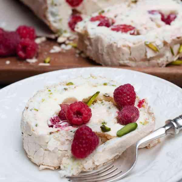 Pistachio, Raspberry and Lemon Meringue Roll