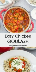 A quick and easy midweek twist on a classic, this Easy Chicken Goulash is just as delicious as a traditional beef goulash but is ready in half the time! #chicken #goulash #hungarian #chickengoulash #chickenstew #hungarianchickengoulash #easygoulash #smokedpaprika #carawayseeds #easychickenrecipes #easydinners #midweekmeals #familydinners #easypeasyfoodie #cookblogshare #freefromgang