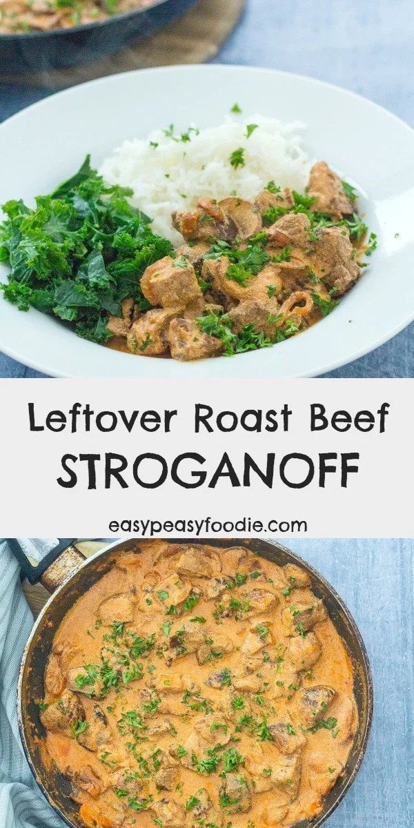 Got some leftover roast beef and wondering what to do with it? Why not try this Leftover Roast Beef Stroganoff? No leftover roast beef? No problem! This easy beef stroganoff can also be made with steak. #beef #stroganoff #beefstroganoff #steakstroganoff #roastbeef #leftoverroastbeef #roastbeefleftovers #leftoversmeals #leftoverbeef #easydinners #midweekmeals #familydinners #easypeasyfoodie #cookblogshare #freefromgang