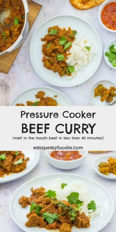 Beef curry in 40 minutes? Surely not possible? It is thanks to my new toy! This Pressure Cooker Beef Curry tastes just like my slow cooked beef curries (the ones which take hours and hours in the oven or slow cooker) but takes just 40 minutes – that's faster than it takes to get curry delivered from my local curry restaurant! #beef #curry #beefcurry #pressurecooker #pressurecooking #easyfood #quickfood #fastfood #fakeaway #currynight #curryandrice #easymeals #easydinners #easypeasyfoodie
