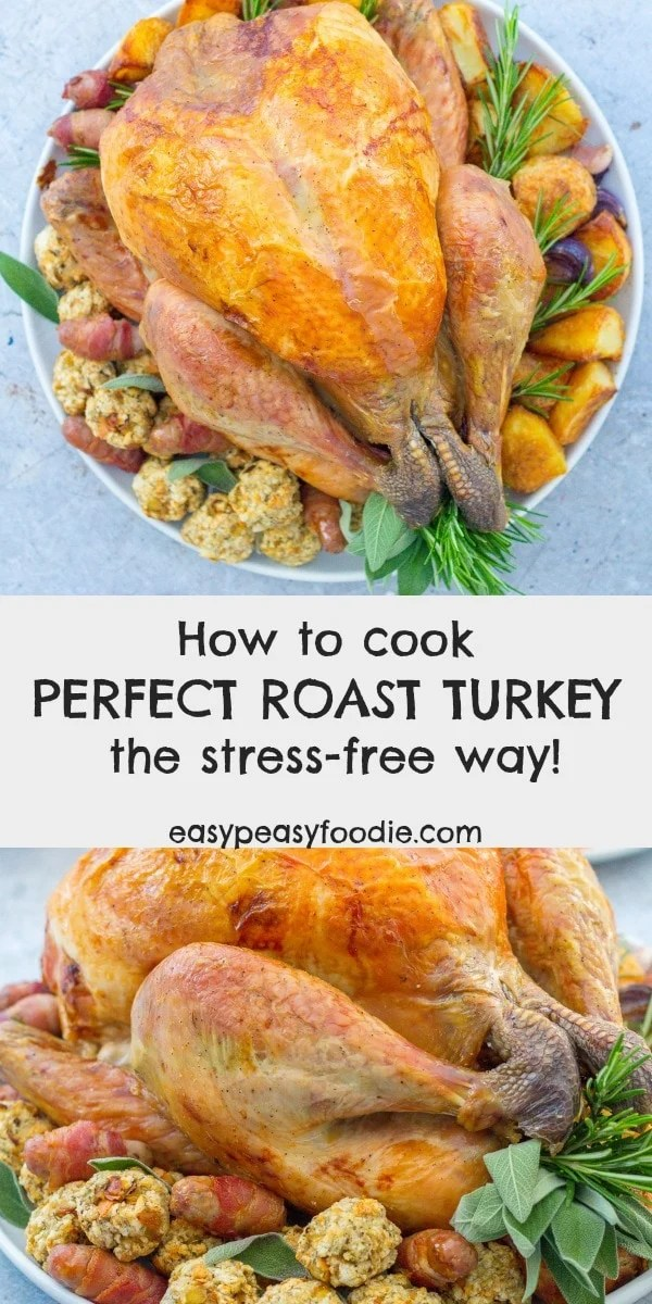 Take all the stress out of Christmas dinner by cooking my foolproof whole roast turkey recipe. Deliciously juicy breast meat, crispy skin and absolutely no faff! Discover how to cook perfect roast turkey – the stress-free way! #turkey #turkeytips #christmasturkey #thanksgivingturkey #christmashacks #christmasdinner #christmaslunch #christmasfood  #thanksgivingfood #christmasfoodideas #christmasvibes #christmasfeeling #stressfreechristmas #christmascountdown #easypeasyfoodie