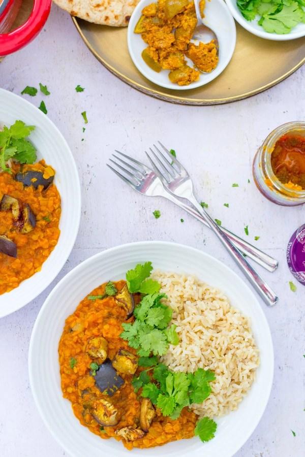 Roasted Aubergine and Red Lentil Dhal (Vegan)