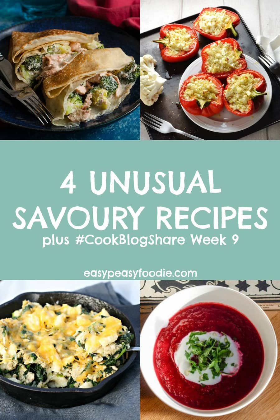 Fancy something a little bit different for your dinner? Then why not try out one of these 4 Unusual Savoury Recipes – each a little twist on a classic. Plus find the linky for #CookBlogShare Week 9. #savouryrecipes #unusualrecipes #easyrecipes #midweekmeals #familydinners #pancakes #savourypancakes #stuffedpeppers #cauliflowerrice #spaetzle #healthymacncheese #germanpasta #beetrootsoup #easypeasyfoodie