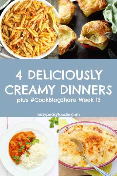 The edible equivalent of a duvet day - these 4 Deliciously Creamy Dinners are perfect for whenever you feel in need of classic comfort food! Plus find the linky for #CookBlogShare Week 13. #chickenpotpies #macaronicheese #lancashirecheese #butterchicken #cheesypasta #easydinners #bloggerrecipes #familydinners #midweekmeals #easypeasyfoodie