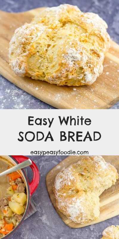 Make delicious, crusty white bread in under 40 minutes – with no kneading, or proving! My Easy White Soda Bread is super simple to make and only uses 4 ingredients! Wonderful eaten just as it is or as an accompaniment to soups and stews. #sodabread #whitesodabread #easybread #quickbread #nokneadbread #irishbread #irishfood #stpatricksday #stpatricksdayfood #easypeasyfoodie