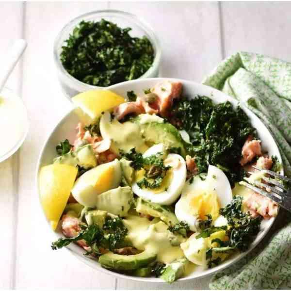 Salmon and Avocado Salad with Crispy Kale