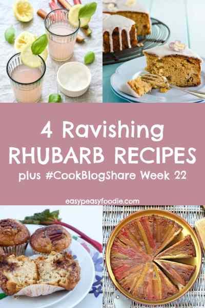 Discover the wonderful versatility of this seasonal delight with these 4 ravishing rhubarb recipes! Plus find the linky for #CookBlogShare Week 22… #rhubarb #rhubarbrecipes #seasonalrhubarb #springrecipes #rhubarbcake #rhubarbcordial #rhubarbupsidedowncake #rhubarbmuffins #easypeasyfoodie