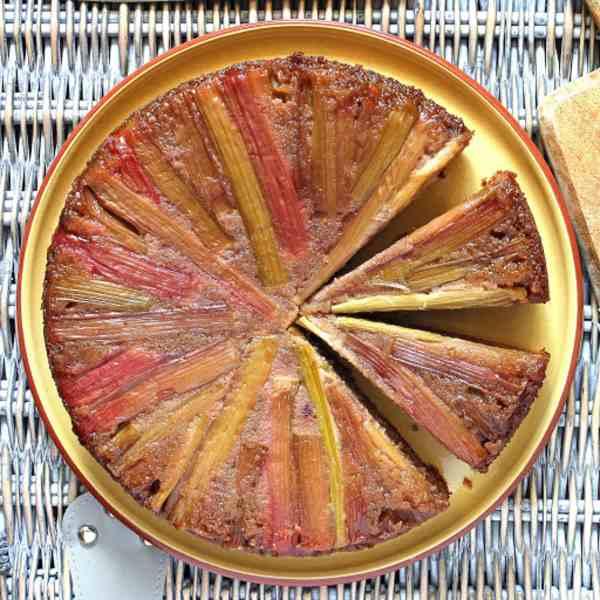 Gluten Free Rhubarb Upside Down Cake with Strawberry and Almond Sponge