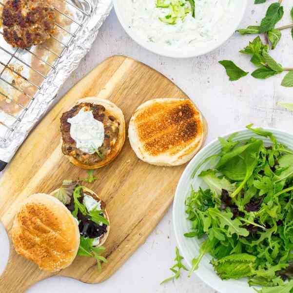 Lamb, Feta and Mint burgers