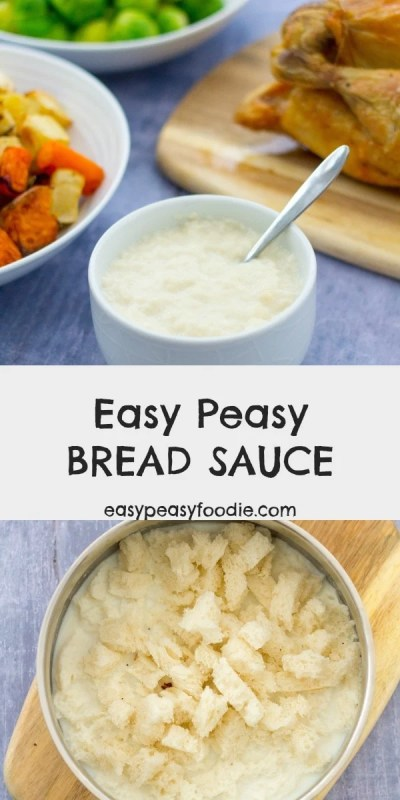 Perfect with roast chicken or roast turkey, this Easy Peasy Bread Sauce is quick and simple to make and knocks the socks off powdered packet bread sauce. Once you've tasted the real deal, there's no going back! #breadsauce #easybreadsauce #easypeasybreadsauce #roastchicken #roastturkey #roastdinner #roastdinnersauces #roastdinnersides #christmasdinnersauces #christmasdinnersides #easysauce #easysidedish #homemadebreadsauce #classicbreadsauce #christmasdinner #christmaslunch #easypeasyfoodie