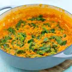 Easy Yellow Split Pea and Spinach Dhal (Vegan)