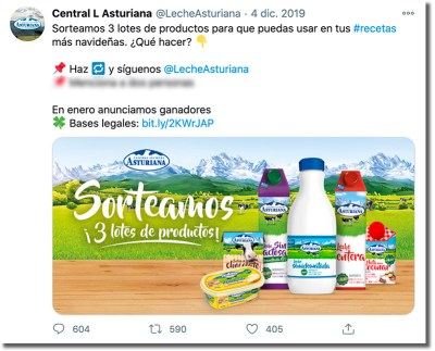 ejemplo de sorteo de Navidad en Twitter de Central Lechera Asturiana