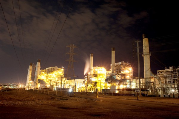 The Redondo Beach AES power plant at night. Photo by Chelsea Sektnan