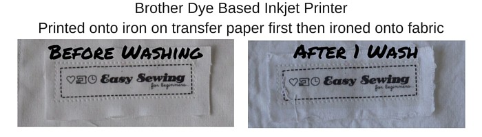 Comparing Wash Brother Dye based inkjet onto iron on transfer paper then ironed onto fabric