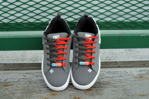 Red & Black/Grey (Textured) Easy Tie Shoelaces
