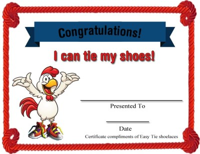 "Free Easy Tie ""I can tie"" certificate"