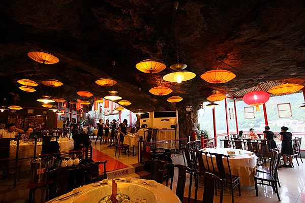 Wide and bright cave restaurant