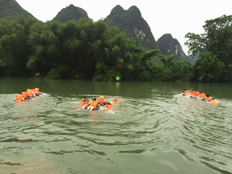 The raft race on Yulong River Yangshuo