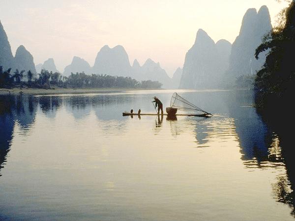 Yangshuo bamboo rafting, Guilin China