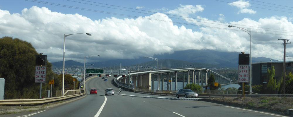 Heading into Hobart over the Tasman Bridge