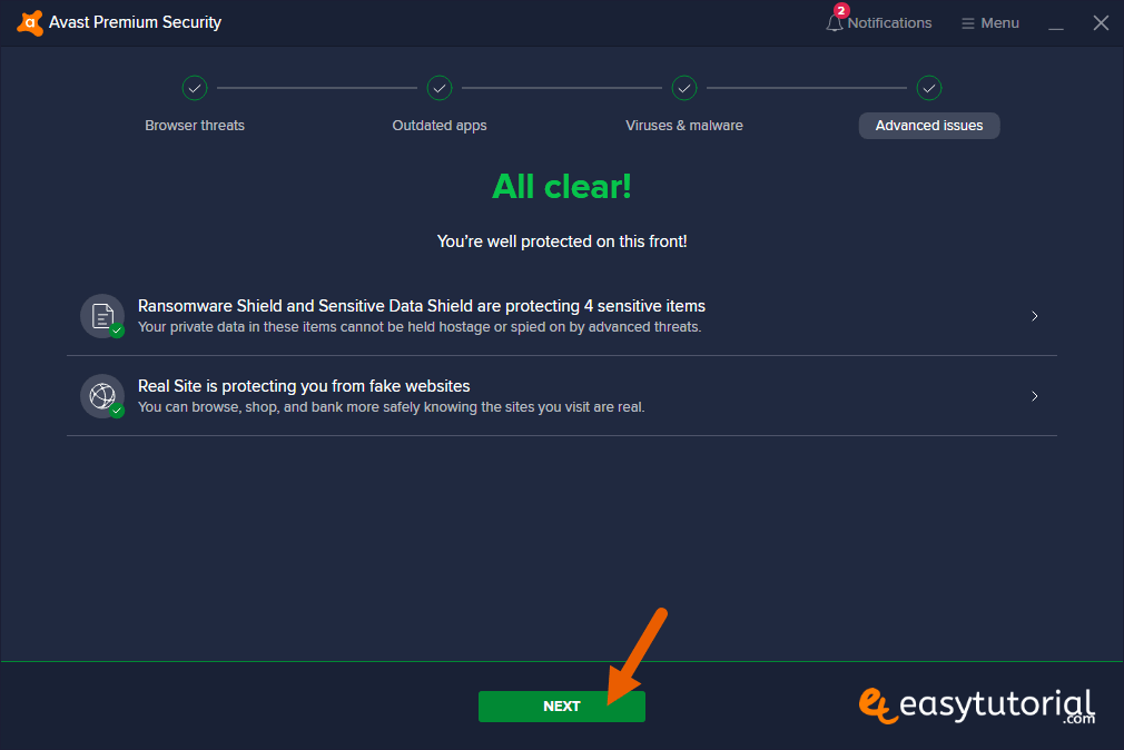 All Clear Next Advanced Issues