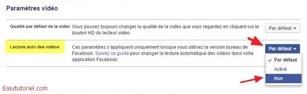 parametres video facebook